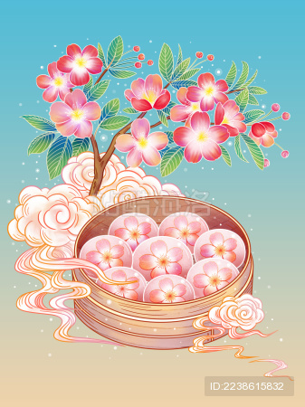 国风樱花水晶月饼蝴蝶插画