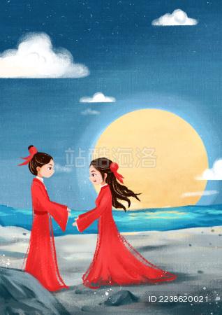 在湖边团圆赏月的情侣
