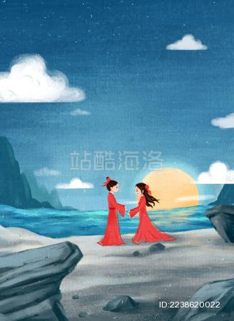 湖边赏月团圆的情侣