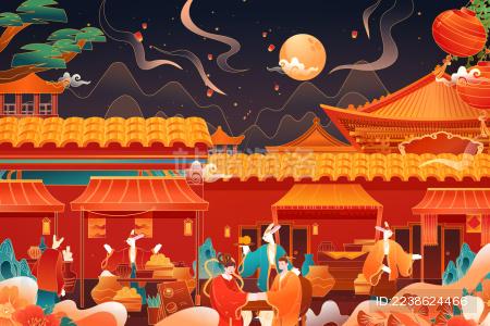 中秋节集市活动矢量插画