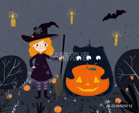 万圣节女孩和小怪兽 插图