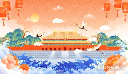 中国风故宫建筑矢量插画
