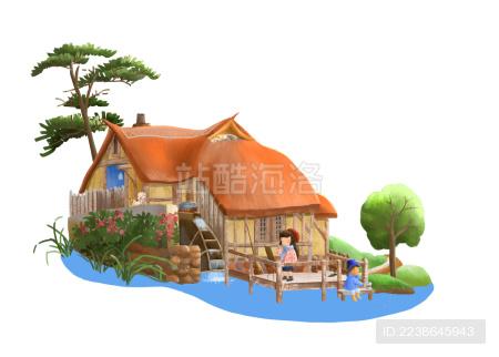 度假小屋情侣画画钓鱼有宠物
