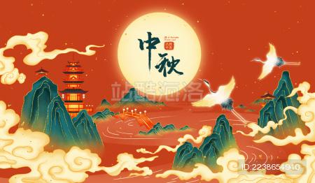 中秋节红色国风喜庆插画海报