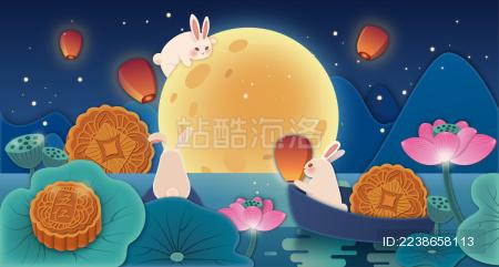 中秋节的夜晚三只兔子在河面放灯祈福
