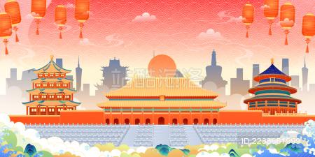 国潮风北京建筑矢量插画