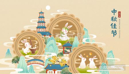 玉兔庆中秋横幅插图