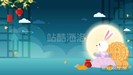 秋节圆月下的节日月饼和玉兔