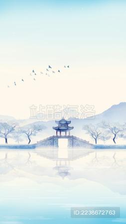 唯美亭台古桥中国风水墨画