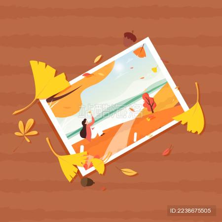 秋天桌面上的旅行照片和银杏叶