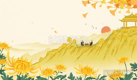 在山间喝茶的老年人 重阳节插画