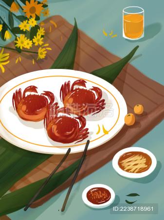 国庆节重阳节赏菊螃蟹菊花