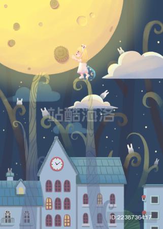 中秋节摘月饼