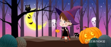 万圣节之夜邪恶月亮可爱提灯小巫女海报插画
