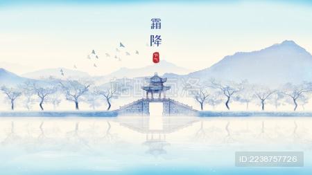 唯美节气霜降颐和园风景中国风水墨画