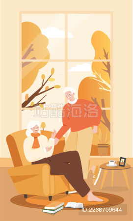 秋季一对老人温馨读书插画