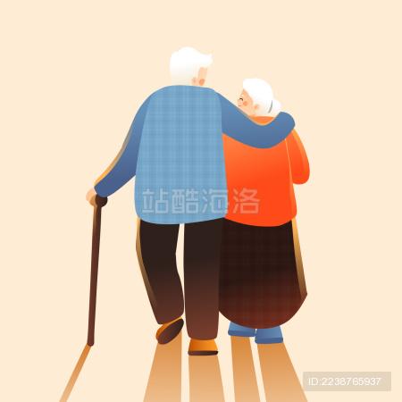 重阳节老年夫妻矢量插画