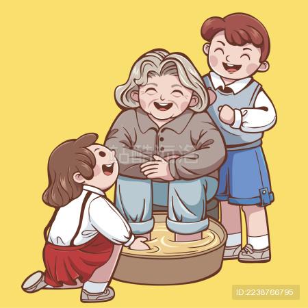 重阳节老人和孩子插画