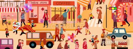欢乐节庆气氛逛街新年插画