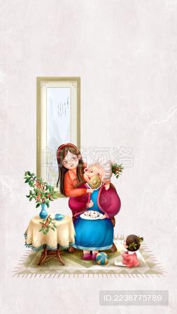 九月九重阳节遍插茱萸老少同堂吃重阳糕