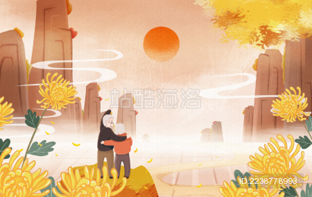 重阳节老人爷爷奶奶登山赏菊