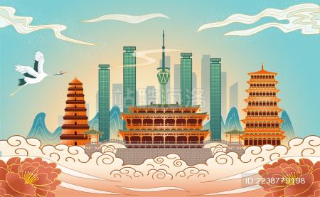 中国陕西省西安市国风线描海报插画