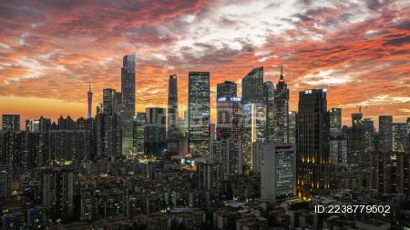 中国广东省广州市区金融区日落高视角