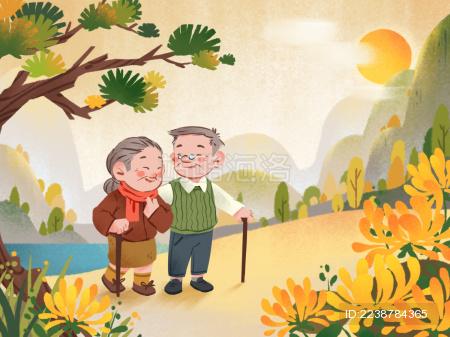 两位老人重阳节登山欣赏菊花