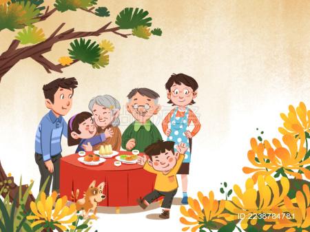 手绘一家人团圆开心喜庆的过节