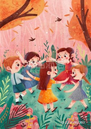 丛林中五个孩子快乐的玩耍