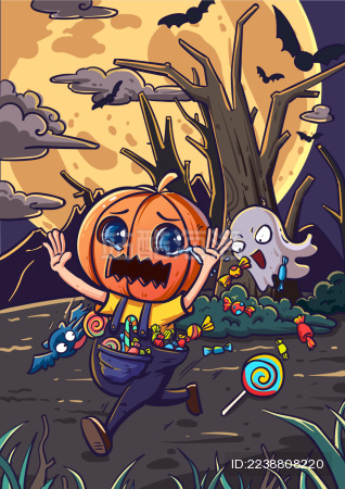 万圣节小妖怪追着头戴南瓜的小孩要糖果