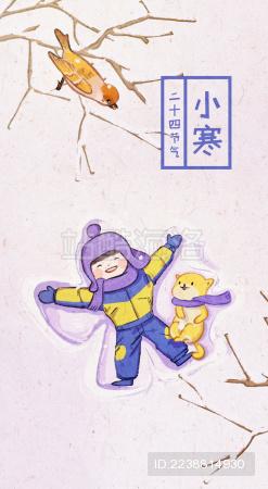 小寒节气在雪地玩耍的小男孩和一只柴犬