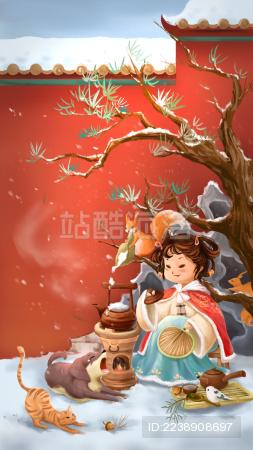大雪节气女孩烹雪煮茶