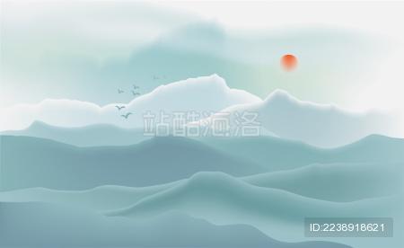 中国新中式水墨山水矢量插画