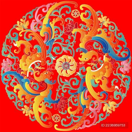 中国传统凤凰矢量纹样文案