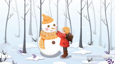 一个在雪地里堆雪人的小女孩