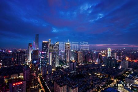 广州城市夜景 高视角 建筑