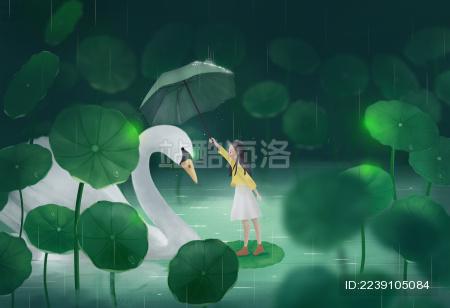 治愈系二十四节气草丛中的天鹅和小女孩插画