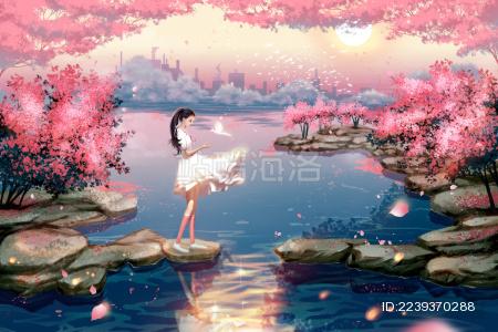 女孩在布满樱花的河边游玩插画