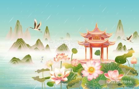 西湖雨景插画海报背景